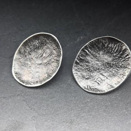 Large disc earrings Raw silver stud..