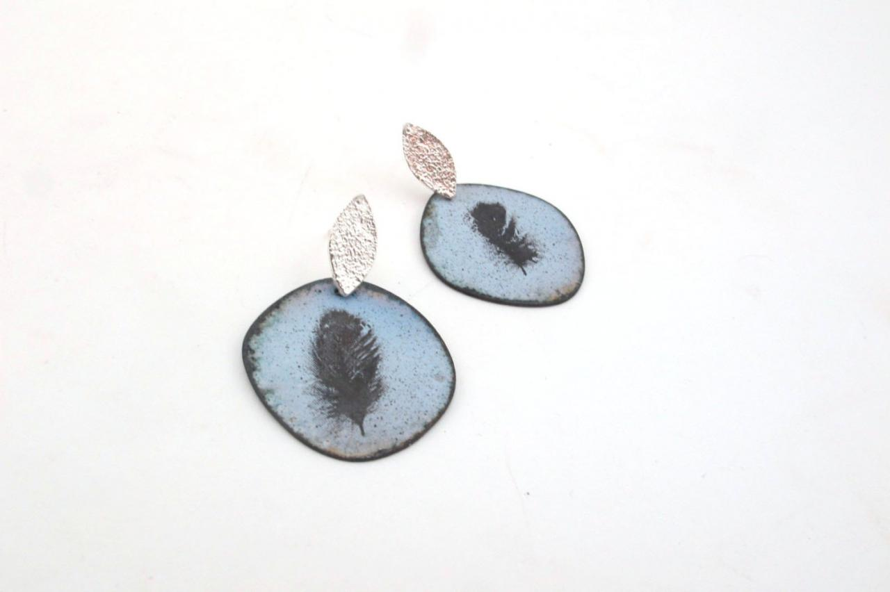 Earrings 164-165/365 -Sterling silver and enamel on copper EAD2015