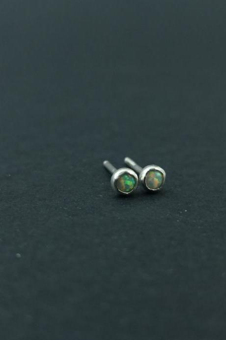 Opal earrings Silver stud earrings 3mm stud earring white opal tiny sweet earrings Gift for her Minimalist Boho Cute Small studs Stackable