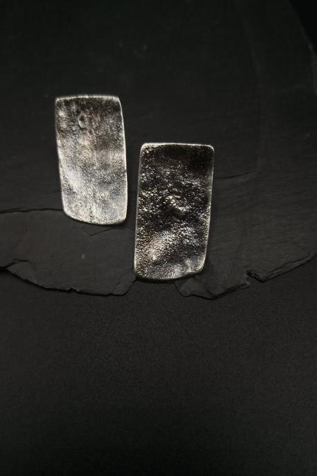 Large wabi sabi Raw silver studs Oxidized silver rectangle earrings Modern Bohemian Bold Everyday design Statement earrings Strong primitive