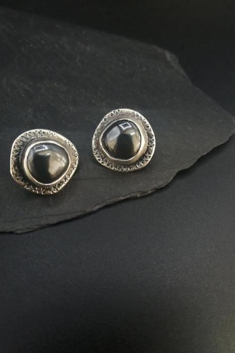Textured silver and pyrite gemstone stud earrings with stamped oxidize pattern light and dark designer jewelry simple yet unique wabi sabi