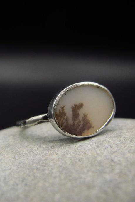 Handmade raw rustic Boho natural Silver dendritic agate ring Dainty Gemstone solitaire Size 9 Gift for women wabi sabi OOAK Poetic Nature