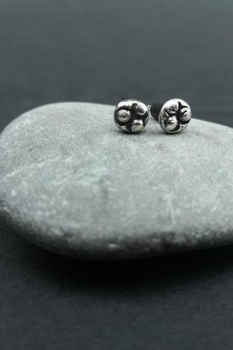 Dainty Pebbles Stamped studs Organic Sterling silver Delicate Studs Wabi sabi Handmade Tribal Mini Studs Gift for her Boho Oxidized silver