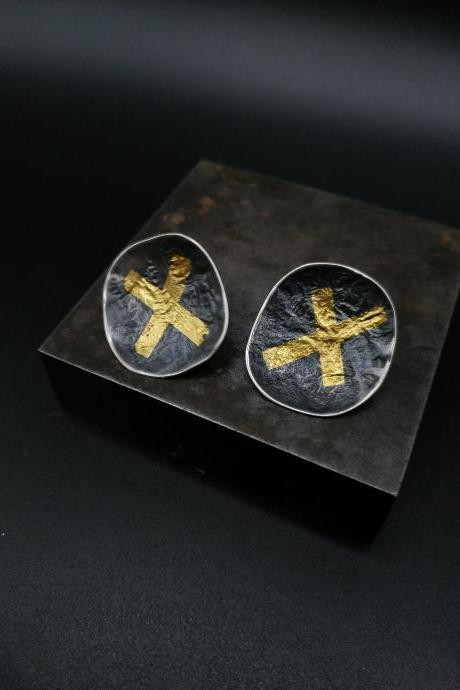 X Silver and 24k gold statement studs Raw original jewelry lover Gift Unique strong boho style dark wearable art Zen wabi sabi style