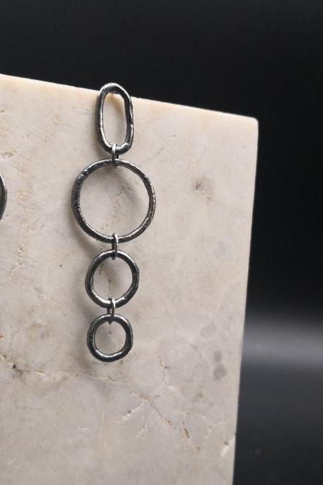 Monochromatic long circle chain earrings handmade with recycled sterling silver, Bohemian yet modern, available in polished and oxidized.