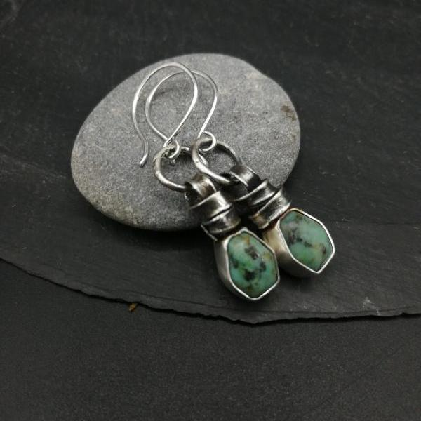 Boho Sweet Green turquoise and oxidized raw recycled sterling silver drop earrings Natural Gemstones Zen rough wabi sabi fun unique design