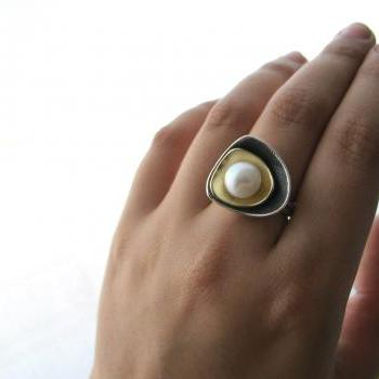 Layers- Sterling silver,bronze and freshwater pearl ring.